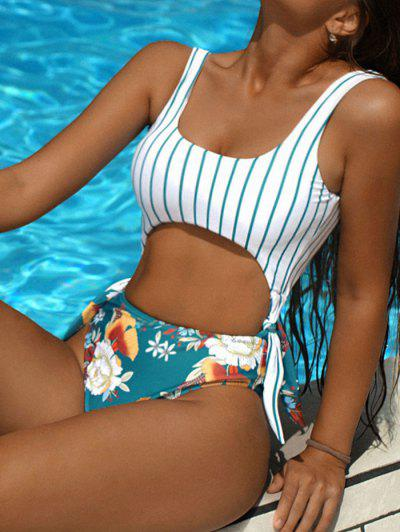 ZAFUL Striped Flower Tied Cutout One-piece Swimsuit - Multi-a M