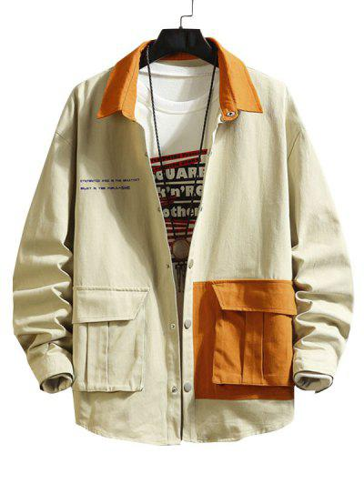 Two Tone Flap Pockets Drop Shoulder Jacket - Light Khaki Xl