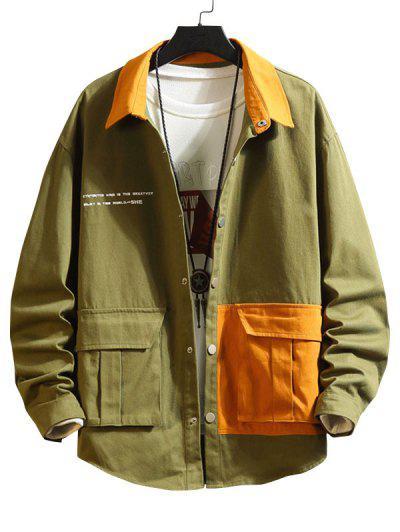 Two Tone Flap Pockets Drop Shoulder Jacket - Army Green L