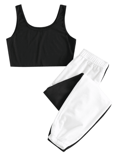 ZAFUL Two Tone Sleeveless High Waisted Pants Set