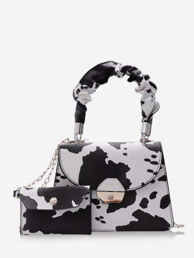 2Pcs Cow Print Chain Crossbody Bag Set - White