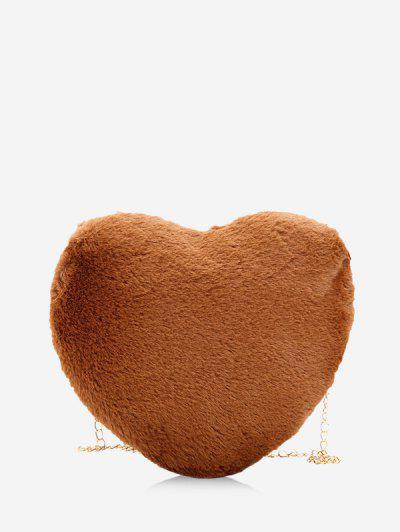 Heart Shape Chain Plush Crossbody Bag - Coffee