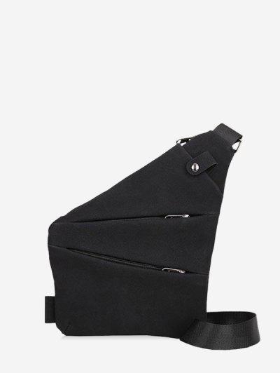 Multi Zip Pockets Geometric Chest Bag - Black