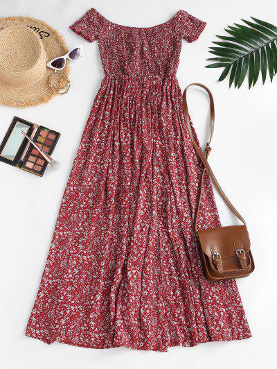 Ditsy Floral Smocked Off Shoulder Slit Dress - Red L