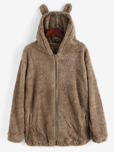 Zip Up Hooded Pockets Fluffy Teddy Coat - Brown