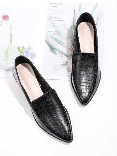Textured Pointed Toe Slip On Shoes - Black Eu 39