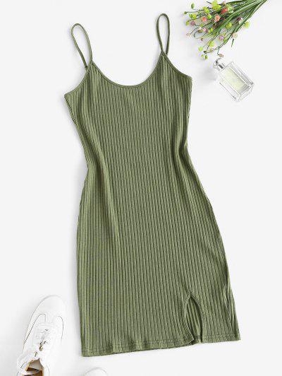 Vestido Ceñido Ancho Acanalado - Verde Xl