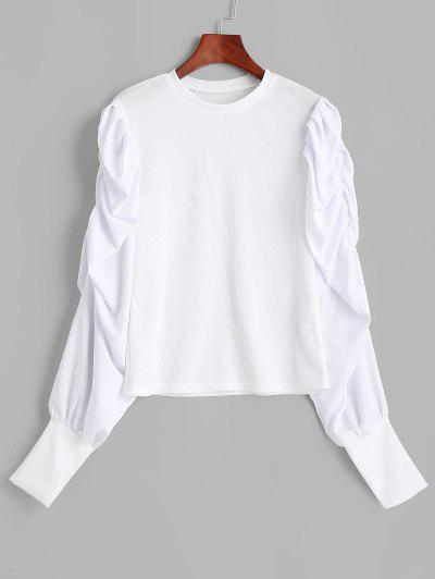 Ribbed Gathered Puff Sleeve Top - White L