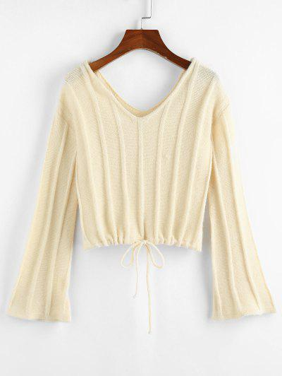 ZAFUL Flare Sleeve Drawstring Dual V Neck Sweater - Light Coffee M