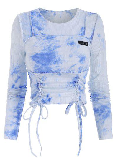 Stitching Tie Dye Ribbed Cinched Tee - Sky Blue M