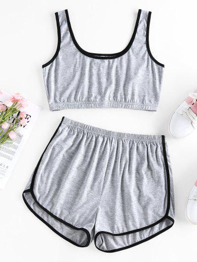 ZAFUL Heather Sports Ringer Shorts Set - Light Gray S