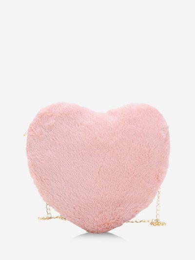 Bolsa De Mão Em Forma De Coração Com Cadeia De Pelúcia - Rosa Claro