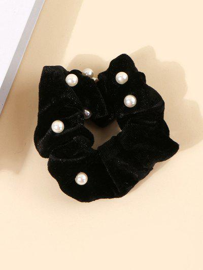 Faux Pearl Velour Fabric Scrunchie - Black