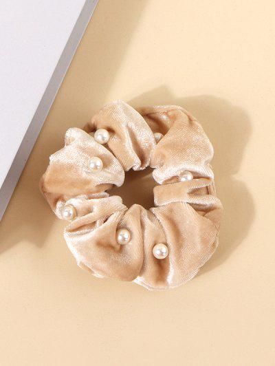 Faux Pearl Velour Fabric Scrunchie - Beige