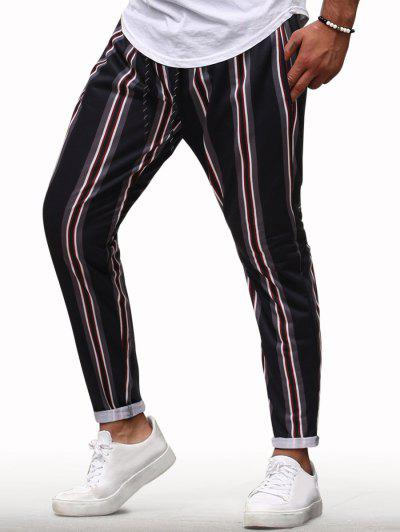 Vertical Striped Drawstring Casual Pencil Pants - Red Wine Xxl