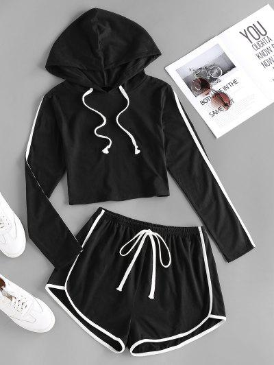 ZAFUL Hooded Tape Side Dolphin Shorts Set - Black S