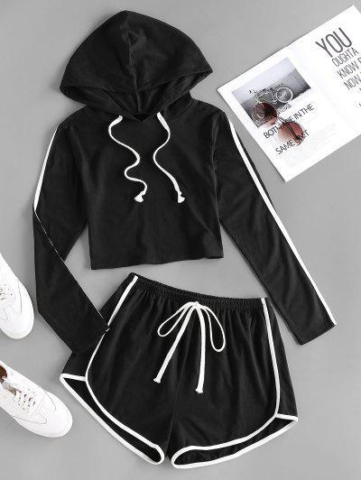 ZAFUL Hooded Tape Side Dolphin Shorts Set - Black M