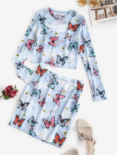 ひまわりバタフライシアーメッシュツーピースドレス - ライトブルー L