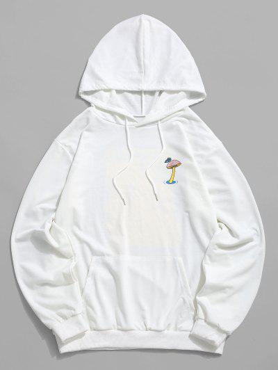 Mushroom Graphic Pouch Pocket Pullover Hoodie - White S