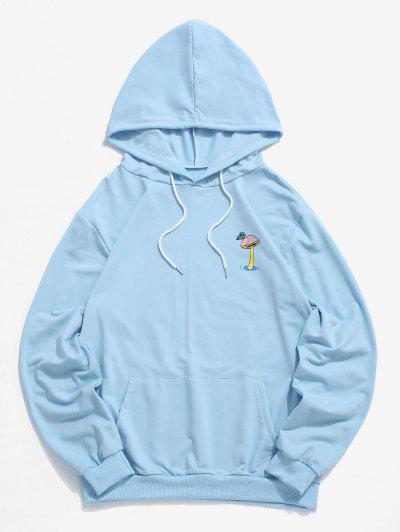Mushroom Graphic Pouch Pocket Pullover Hoodie - Light Sky Blue M