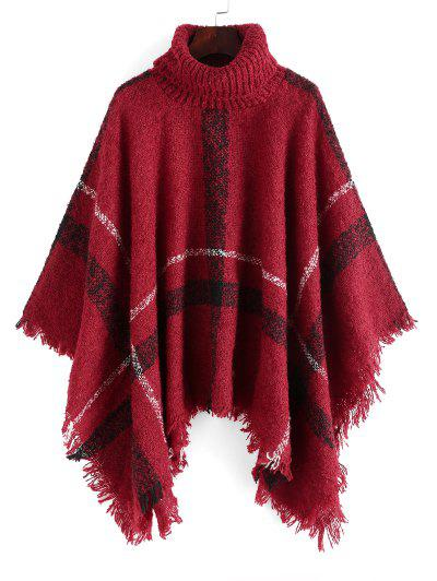 Plaid Turtleneck Poncho Sweater - Red