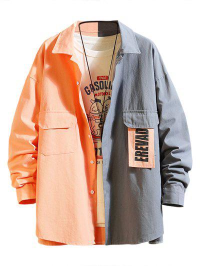 Letter Patchwork Colorblock Panel Shirt Jacket - Pink Rose M
