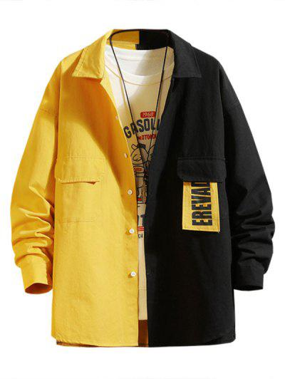 Letter Patchwork Colorblock Panel Shirt Jacket - Bright Yellow 2xl