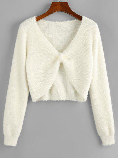 ZAFUL Fuzzy Knit Knotted Short Sweater - White L