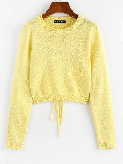 ZAFUL Rolled Trim Cutout Back Tie Sweater - Yellow L