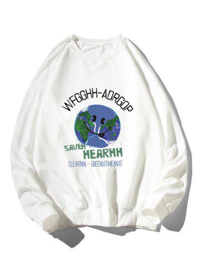 Graphic Earth Print Rib-knit Trim Sweatshirt - White L