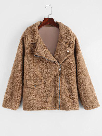 Zip Up Flap Pocket Teddy Coat - Brown L