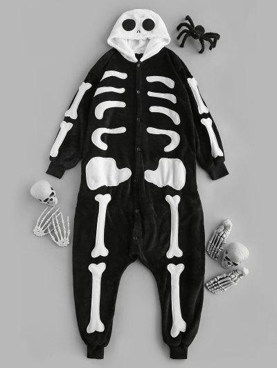 Halloween Kapuze Plüsch Skelett Pyjama - Schwarz S