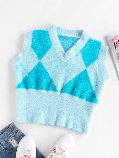 ZAFUL Fuzzy Argyle Knit V Neck Vest - Light Blue M