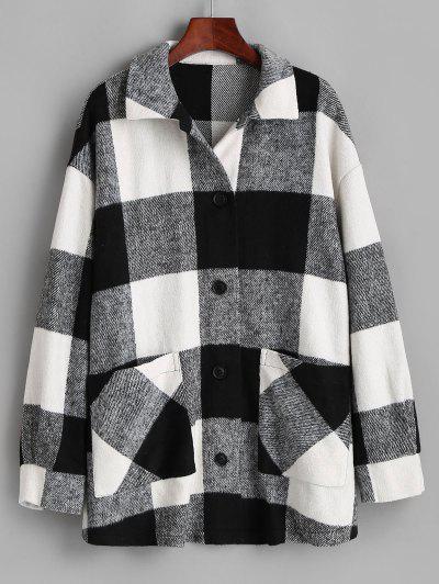 ZAFUL Plaid Button Up Oversized Wool Blend Coat - Black S