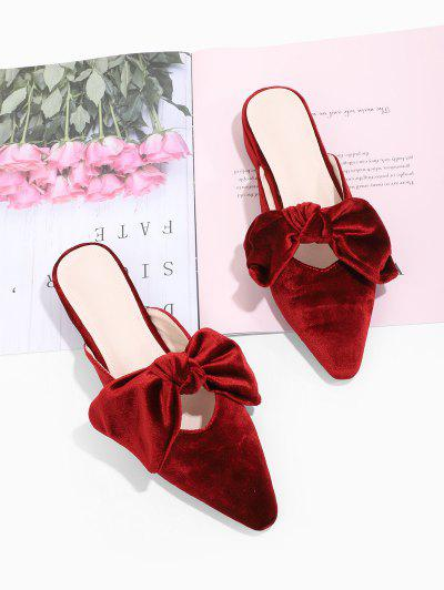 Bowknot Velour Pointed Toe Slide Shoes - Red Wine Eu 38