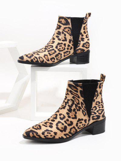Leopard Print Pointed Toe Chelsea Boots - Multi-a Eu 37