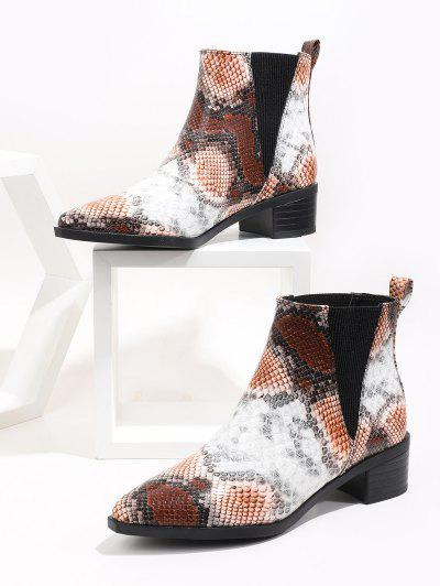 Snakeskin Print Pointed Toe Chelsea Boots - Multi-a Eu 38