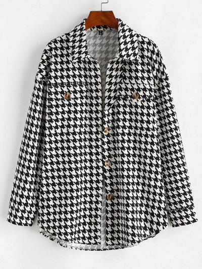 Flap Pockets Houndstooth Cargo Shacket - Black S