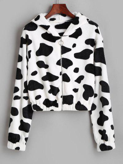 ZAFUL Hooded Fuzzy Cow Print Faux Fur Coat - White Xl