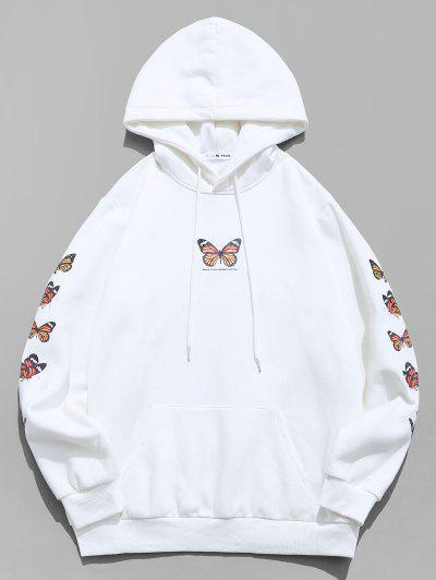 Zaful / ZAFUL Butterfly Print Kangaroo Pocket Fleece Hoodie
