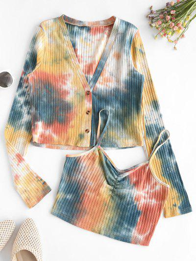 ZAFUL Tie Dye Ribbed Cardigan With Ruched Camisole - Bee Yellow S