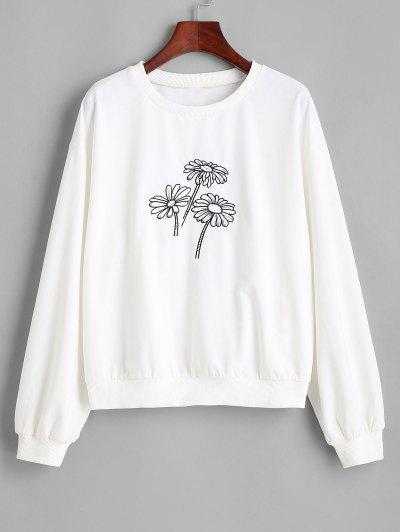 ZAFUL Sweat-shirt Marguerite Imprimée à Goutte Epaule - Blanc M