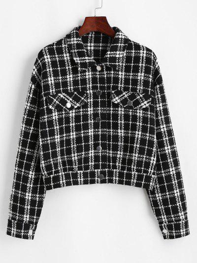 ZAFUL Plaid Flap Detail Tweed Jacket - Black M