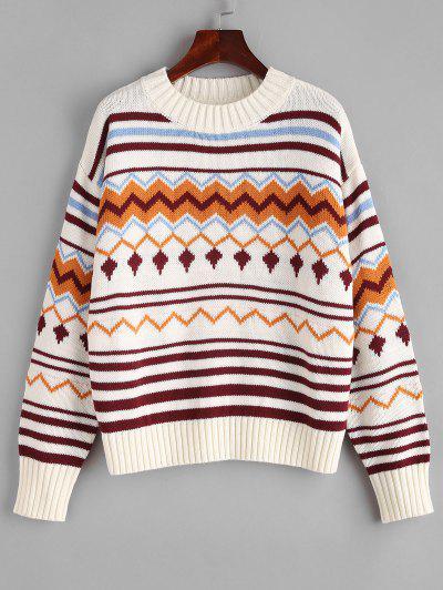 Striped Zigzag Graphic Drop Shoulder Sweater - Multi