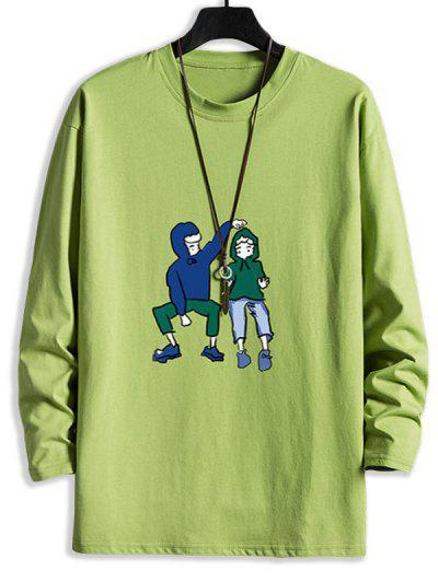 Camiseta Emagrecedora De Mangas Longas Com Ombro Caído - Verde De Abacate S
