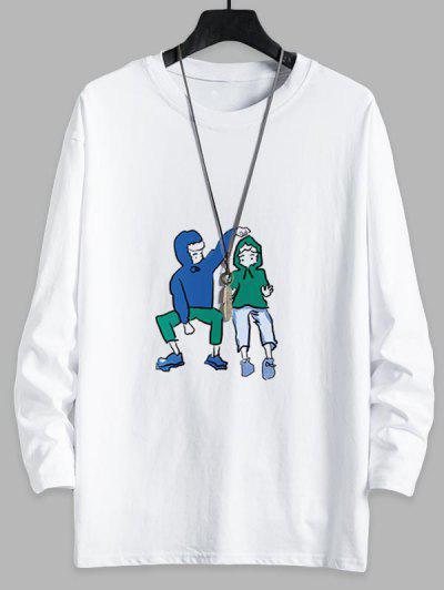 T-shirt Couples Graphique Mignon Goutte Epaule à Col Rond - Blanc L