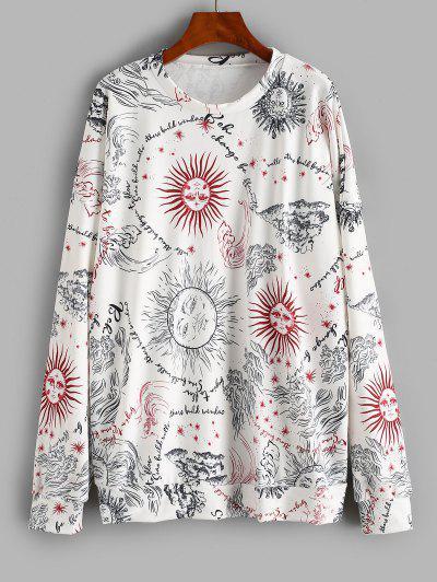 Oversize Sun Graphic Sweatshirt - White M