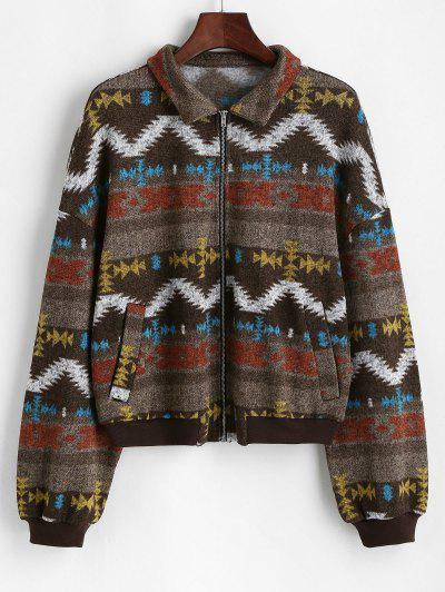 ZAFUL Zip Fly Tribal Print Knitted Jacket - Coffee L
