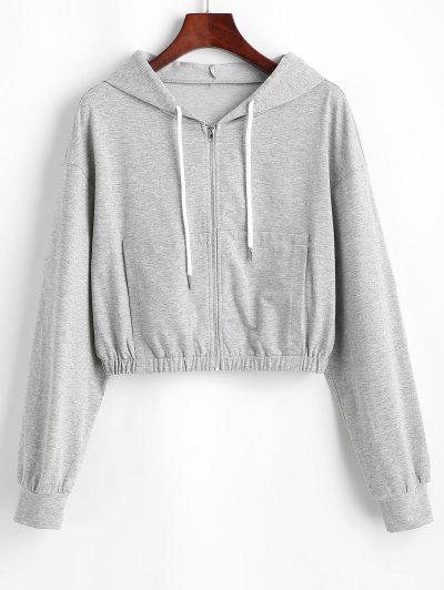 ZAFUL Heathered Crop Zip Up Hoodie - Gray Goose Xl