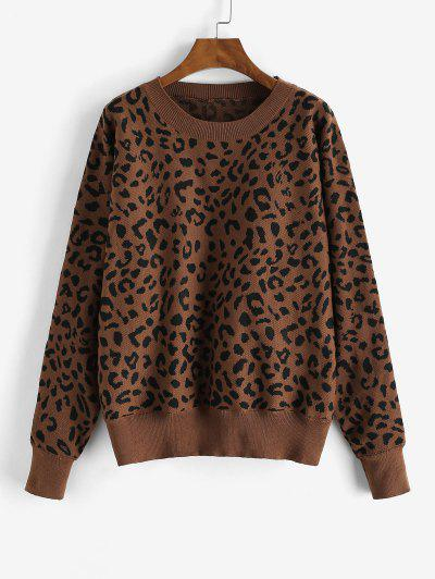 Loose Dolman Sleeve Leopard Sweater - Red Dirt Xl